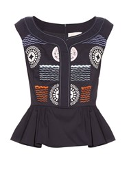 Peter Pilotto Iris Peplum Hem Embroidered Top