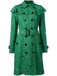 Burberry Ruffle Trim Trench Coat Green