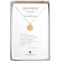Dogeared Maya Angelou Womanhood Medallion Pendant Necklace Gold