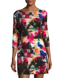 Milly Taylor Graffiti Print 3 4 Sleeve Dress Multi