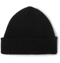 Paul Smith Ribbed Cashmere And Wool Blend Beanie Black