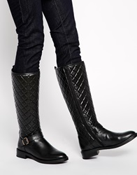 Bronx Quilted Leather Riding Knee Boots Black