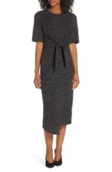 Maggy London Tie Front Midi Dress Charcoal