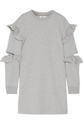 Steve J And Yoni P Cutout Ruffled Cotton Terry Mini Dress Gray