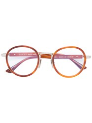 Gucci Eyewear Wide Bridge Round Glasses Brown