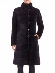 The Fur Salon Reversible Chinchilla And Mink Fur Coat Navy