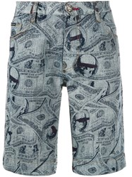Philipp Plein Dollar Print Denim Shorts Blue