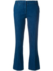 Kiltie Flared Cropped Trousers Blue