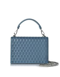 Rodo Blue Nappa On Mesh Celebration Clutch W Top Handle