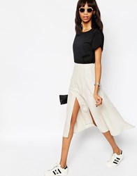 Asos Soft Wrap Midi Skirt With Splices Mink Pink