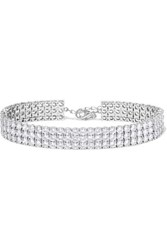 Kenneth Jay Lane Rhodium Plated Cubic Zirconia Anklet Silver