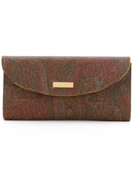 Etro Abstract Print Wallet Women Leather One Size Brown
