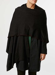 Topman Burgundy Black Double Face Cape Red