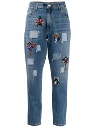 History Repeats Bead Embellished High Rise Slim Jeans Blue