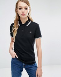 Fred Perry Twin Tipped Polo Shirt Black White