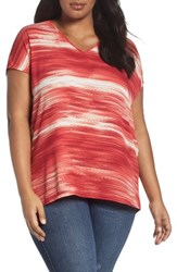 Sejour Plus Size Women's Gathered Back Top Pink Print
