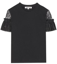 Mcq By Alexander Mcqueen Lace Sleeved Jersey T Shirt Black