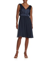 Vera Wang Satin Fit And Flare Dress Navy