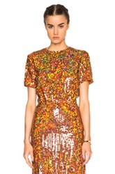 Nina Ricci Copper Sequin Top In Metallics Orange