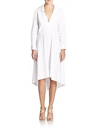 Halston Hi Lo Shirtdress Linen White