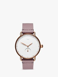 Mvmt 'S Bloom Leather Strap Watch Lilac White D Fr01 Rgpu