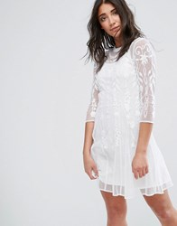 Girls On Film Midi Lace Dress With High Neck Off White