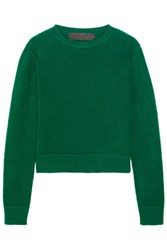 The Elder Statesman Cropped Cashmere Sweater Green