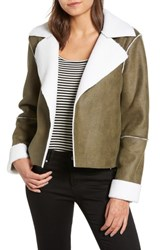 Vigoss Faux Shearling Moto Jacket Green