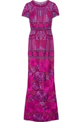 Marchesa Notte Embellished Tulle Gown Magenta