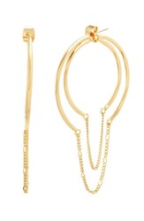 Steve Madden Women's Chain Hoop Earrings Gold