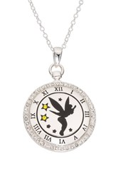 Disney Tinkerbell 'Never Grow Up' Clock Face Pendant Necklace Silver