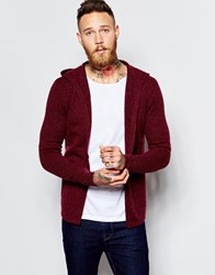 Asos Lambswool Rich Cardigan With Hood Red