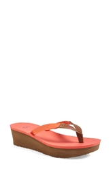 Ugg 'Ruby' Wedge Thong Sandal Women Coral Reef