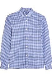 Miu Miu Gingham Cotton Poplin Shirt Blue