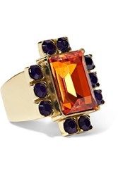 Dries Van Noten Gold Tone Crystal Ring Orange