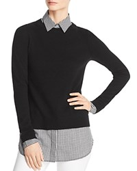 Bloomingdale's C By Layered Look Sweater 100 Exclusive Black