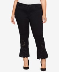 William Rast Trendy Plus Size Kick Flare Jeans Black Wash Black On Black