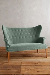 Anthropologie Velvet Wingback Bench Emerald