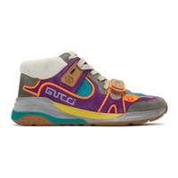 Gucci Purple And Blue Ultrapace Mid Top Sneakers