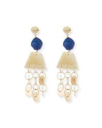 Akola Horn Raffia And Triple Chain Dangle Earrings Blue