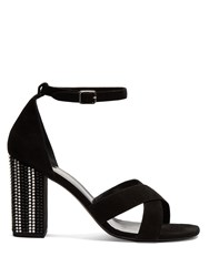 Saint Laurent Babies Crystal Embellished Heel Suede Sandals Black