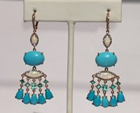 Nina Runsdorf 18K Ping Gold Turquoise 15.35 Cts Opal Chandelier Earrings 1.2 2Cts With Paraiba Tourmaline 0.92Ct Pave Diamonds 0.52 Cts Blue