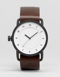 Tid No 1 Leather Watch In Brown With White Face Brown