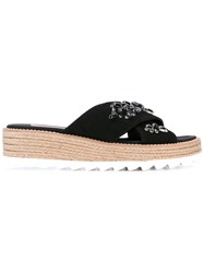 Sebastian Embellished Espadrille Sliders Women Silk Leather Rubber 37 Black