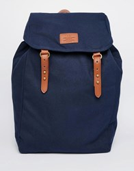 Asos Backpack In Navy Canvas Navy Blue
