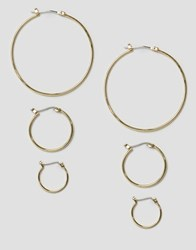Pieces Belinda Hoop Multipack Earrings Gold