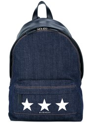 Givenchy Denim Star Print Backpack Blue