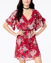 As U Wish Juniors' Printed Ruffle Sleeved Dress Burgundy