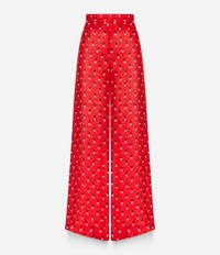 Christopher Kane Love Heart Print Palazzo Pants Red