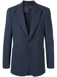Cerruti 1881 Ribbed Formal Blazer Blue